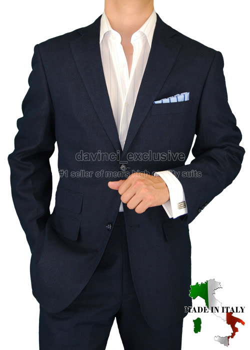 B Brioni 1598 Linen Made In Italy Mens Suits Navy 50r Ebay